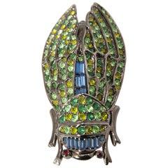 "Large 3-3/8"" Cicada Multi-Color Brooch"