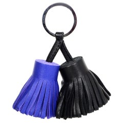 Hermes 2015 Black/Blue Electric Carmen Uno-Dos Key Ring W/ DB
