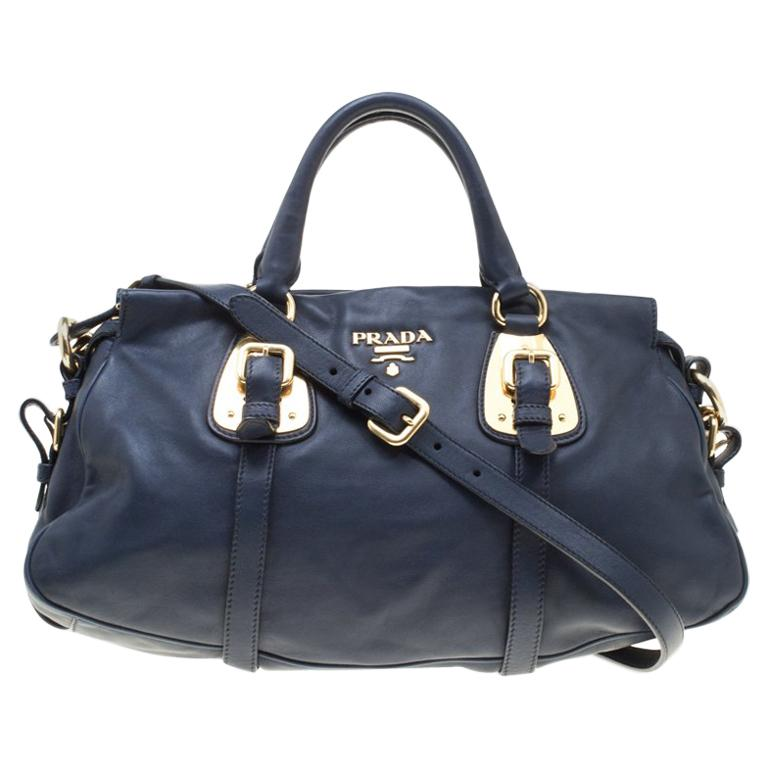 2a8b1a290a56 Prada Navy Blue Leather Satchel For Sale at 1stdibs