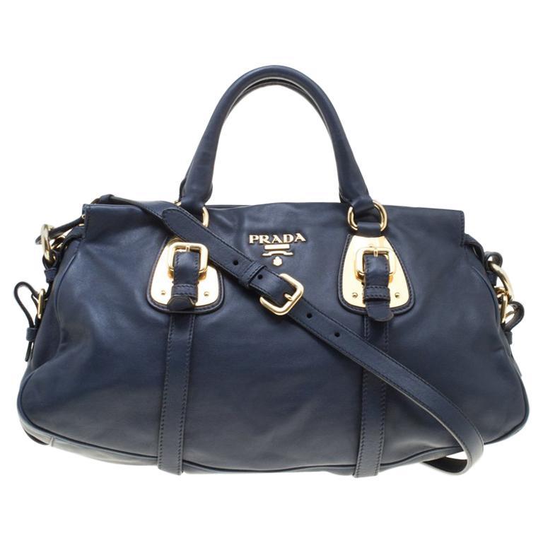 0921d8c490215c Prada Navy Blue Leather Satchel For Sale at 1stdibs