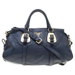 Prada Navy Blue Leather Satchel