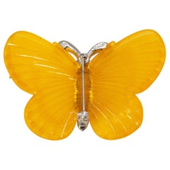 Signed Vintage Kenneth J. Lane Citrine Color Butterfly Brooch