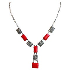 1920s Art Deco Red Glass and Silver Chromium Necklace