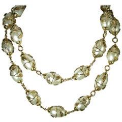 Vintage Chanel Faux Pearl Sautoir Necklace