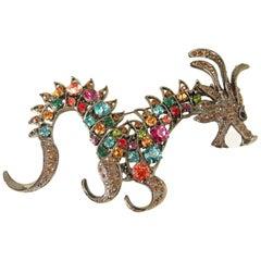 Large Multi-Color Rhinestone Dragon Brooch