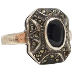 Vintage Onyx & Marcasite Sterling Ring, Size 5.5