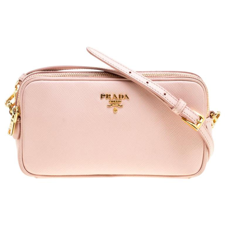 7ef70b87469ec9 Prada Blush Pink Saffiano Lux Leather Camera Crossbody Bag For Sale ...