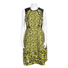 Oscar de la Renta Yellow and Black Embossed Floral Jacquard Lace Detail Dress L