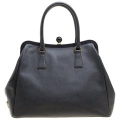 Prada Black Leather Frame Satchel