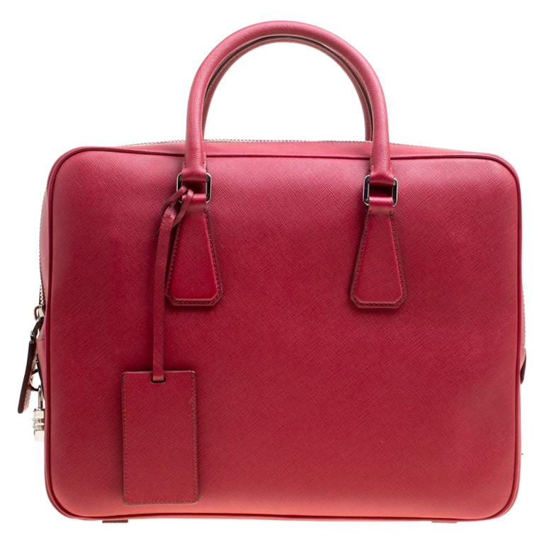 a47fb4e7ff1a Prada Dark Red Saffiano Leather Travel Briefcase For Sale at 1stdibs
