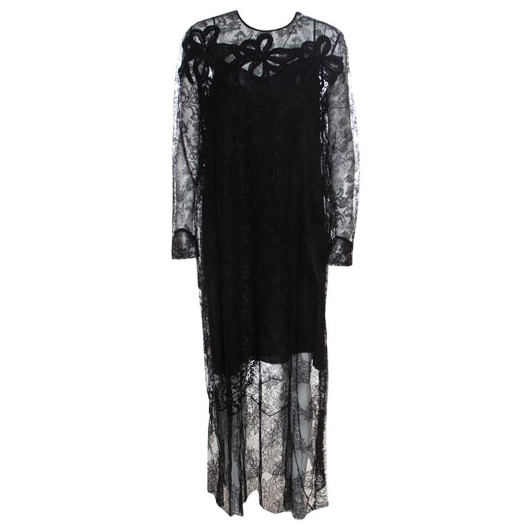 848f63dc353 Rochas Black Floral Lace Long Sleeve Half Lined Maxi Dress XL For Sale
