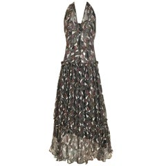 Yves Saint Laurent Silk Print Halter Silk Dress