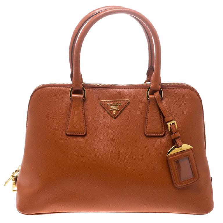 cc5cabbd2ad9 Prada Orange Saffiano Lux Leather Promenade Tote For Sale at 1stdibs