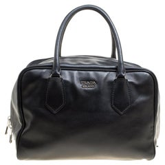 Prada Black Soft Leather Bauletto Satchel