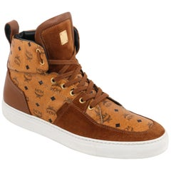"MCM ""Visetos"" Canvas & Suede Monogram Tan Lace-Up High Top Sneakers"