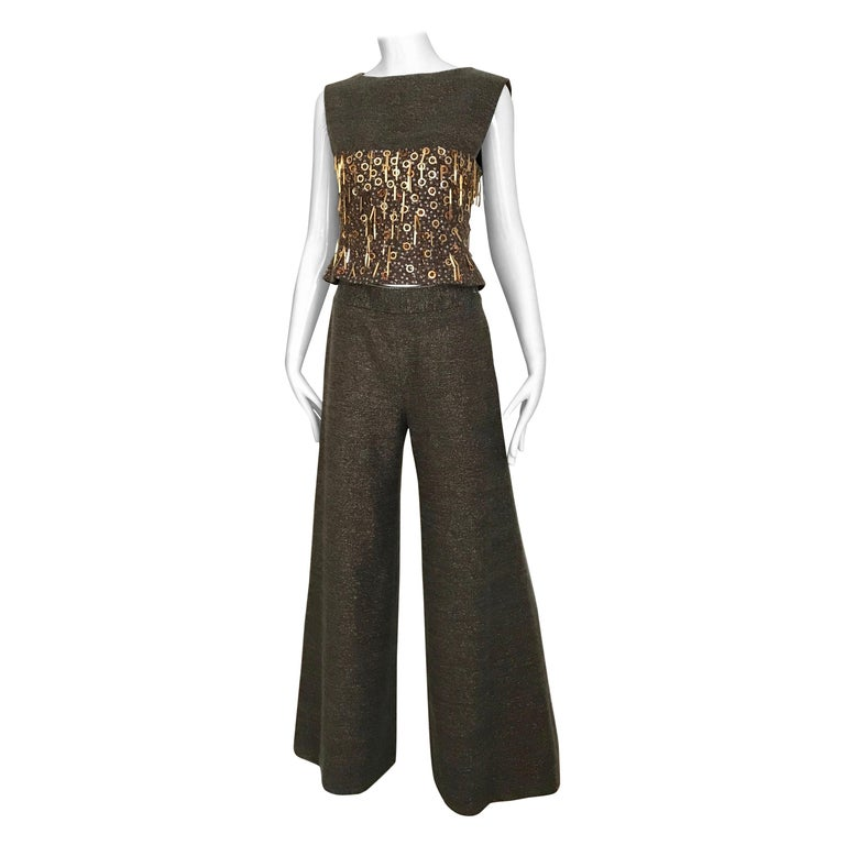 CHANEL Brown Wool Sleeveless Top and Pant Set For Sale