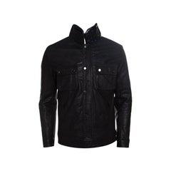 Philipp Plein Black Skull Motif Leather Biker Jacket M