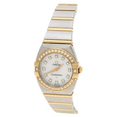 Omega 18K Yellow Gold Diamond Constellation Double Eagle Womens Wristwatch 24 mm
