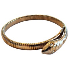 Art Deco Rolled Gold Snake bracelet bangle