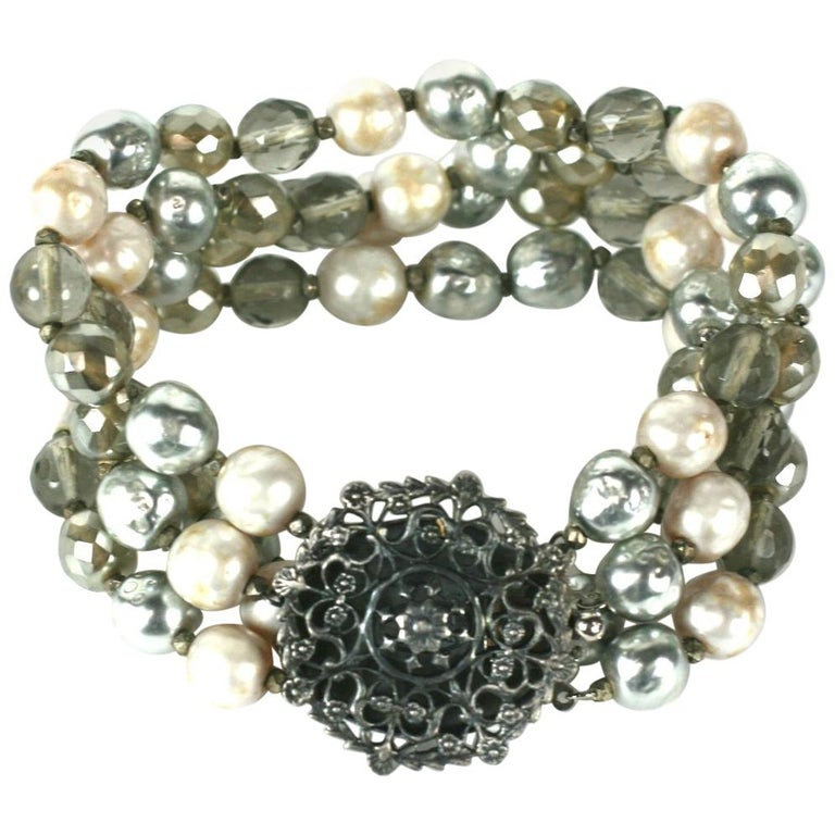 Miriam Haskell Pearl and Crystal Bead Bracelet For Sale