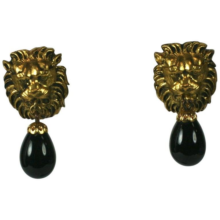 Coco Chanel Lion Head Earrings For Sale
