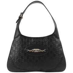 "GUCCI ""Jackie"" Guccissima Black Leather Monogram Hobo Shoulder Bag Handbag"