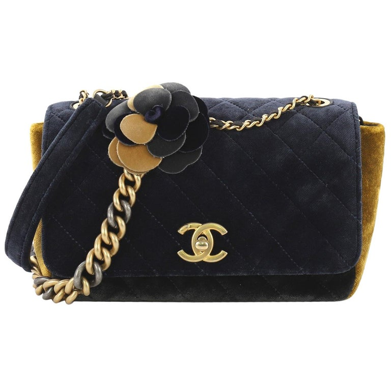 52ccaa0f22f62a Chanel Camellia Flap Bag Multicolor Quilted Velvet Small For Sale at ...