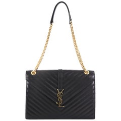 Saint Laurent Classic Monogram Envelope Satchel Matelasse Chevron Leather Large