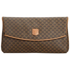 Celine Brown PVC Plastic Macadam Clutch Bag Italy