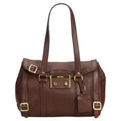 Prada Brown Dark Brown Leather Shoulder Bag Italy