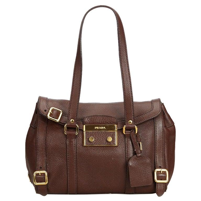 9d9113a6451b Prada Brown Dark Brown Leather Shoulder Bag Italy For Sale at 1stdibs