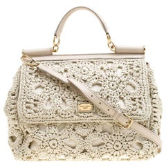 Dolce and Gabbana Off White Crochet Raffia Large Miss Sicily Top Handle Bag