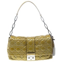 Dior Mustard Cannage Leather New Lock Flap Bag