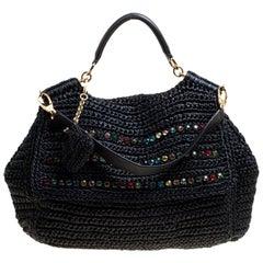 Dolce & Gabbana Black Crochet Straw Miss Sicily Top Handle Bag