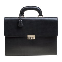 Gucci Black Textured Leather Double Gusset Briefcase