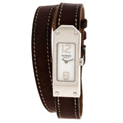 Hermes White Stainless Steel Kelly 2 Double Tour KT1.210 Women's Wristwatch 15mm