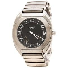 Hermes Black Stainless Steel Espace Digital ES1.710 Men's Wristwatch 38 mm
