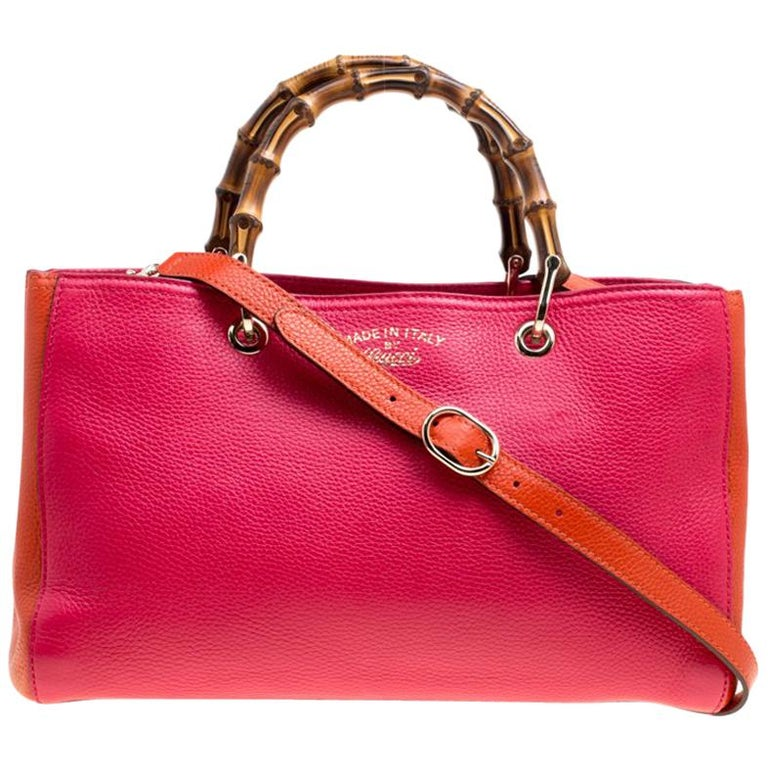 517aa931 Gucci Fuchsia/Orange Leather Medium Exclusive Bamboo Shopper Top Handle Bag  For Sale