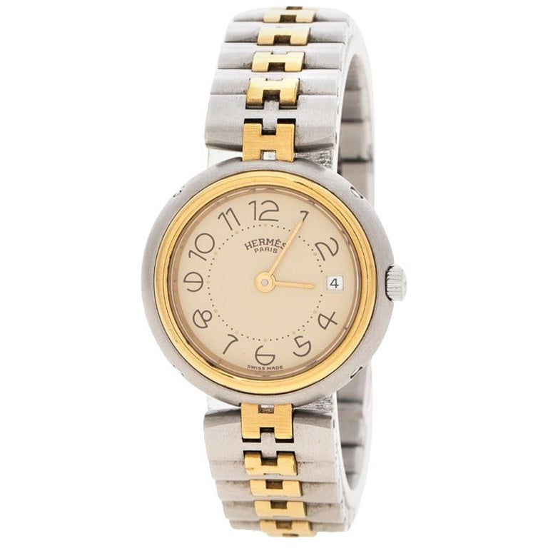 553a9cd987c Hermes Cream Gold-Plated Stainless Steel Clipper Women s Wristwatch 25 mm  For Sale