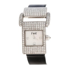 Piaget White Mother Of Pearl Diamond 18k White Gold Miss Women's Wristwatch 17MM