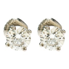 Tiffany & Co. 1.10cttw Solitaire Diamond & Platinum Stud Earrings