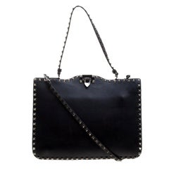 Valentino Black Leather Rockstud Crossbody Bag