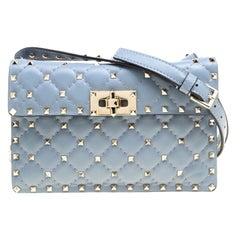 Valentino Light Blue Leather Rockstud Spike Crossbody Bag