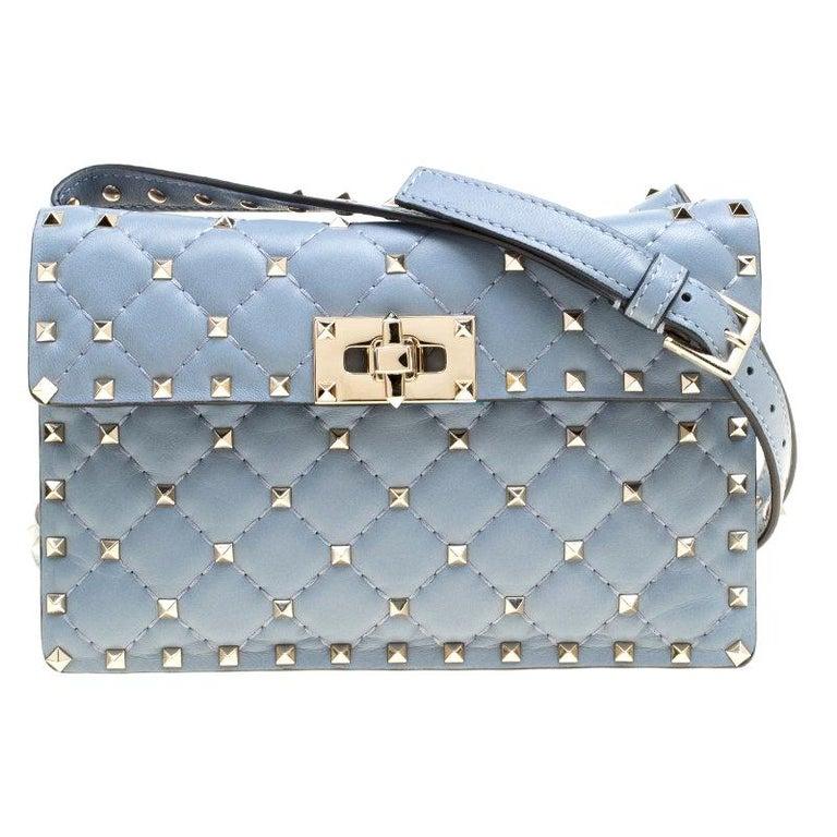 Valentino Light Blue Leather Rockstud Spike Crossbody Bag For Sale