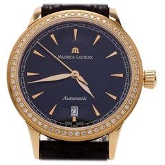 Maurice Lacroix Black 18K Yellow Gold Les Classiques Women's Wristwatch 30MM