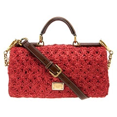 Dolce and Gabbana Red Crochet Raffia Miss Sicily Shoulder Bag