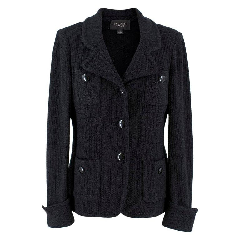 700388376 St John Caviar Black Wool Jacket US 2 For Sale at 1stdibs