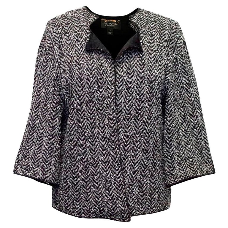 3e927c648 St John Grey and Black Knitted Jacket US 6 For Sale at 1stdibs