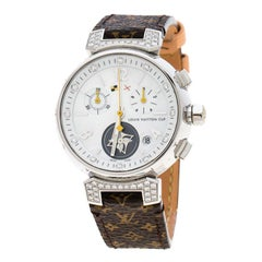 Louis Vuitton Mother Pearl Stainless Diamonds Tambour Women's Wristwatch 34mm