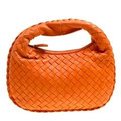 Bottega Veneta Orange Intrecciato Leather Mini Hobo
